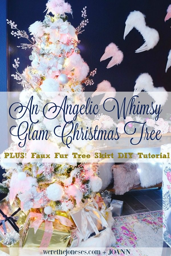 Angelic Whimsical Glam Christmas Tree Decor and No Sew Faux Fur Tree Skirt DIY Tutorial pink and white christmas dining room tour werethejoneses.com