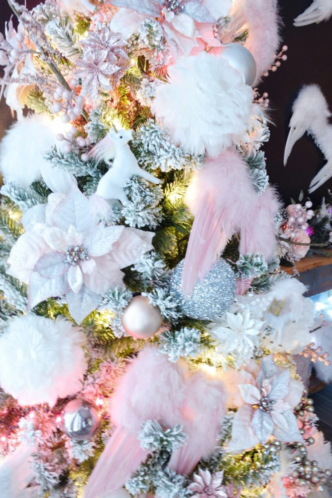 Angelic Glam Christmas Tree with feather angel wing ornaments and unicorn ornaments pink and white and rose gold christmas ornaments
