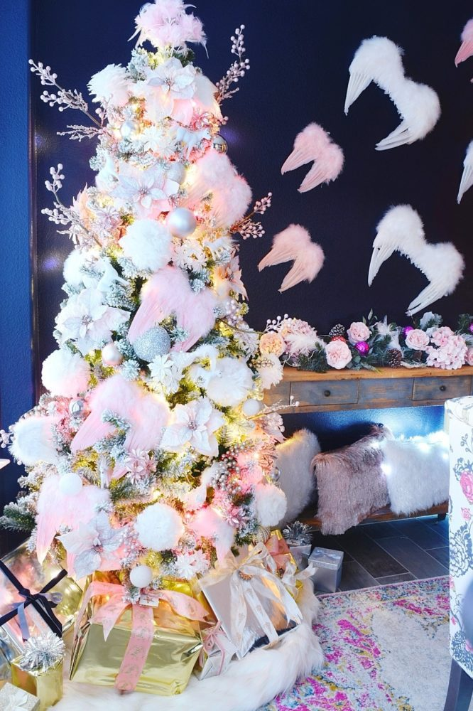 Angelic Glam Christmas Tree with DIY Faux Fur Tree Skirt feather angel wings on christmas tree angel wing ornaments angel wings on the wall