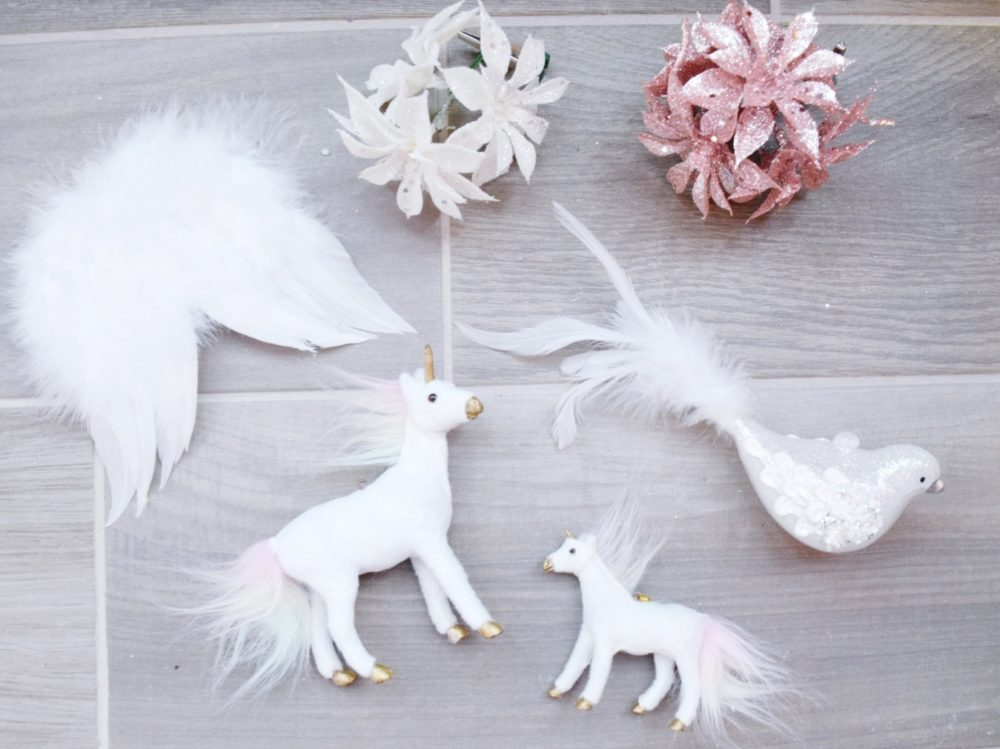 Angelic Glam Christmas Tree ornaments unicorn ornament feather angel wing ornament