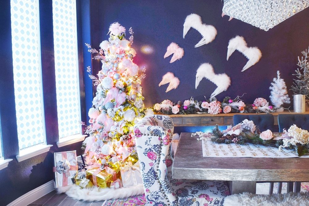 Angelic Glam Whimsical Christmas Dining Room with Feather Angel Wings pink and white christmas ornaments and rose gold christmas decorations