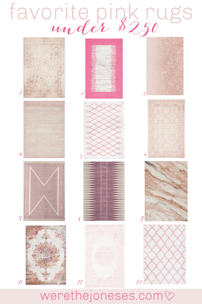 I've rounded up my favorite pink rugs under $250. Perfect for little girl nurseries, little girl rooms, tween rooms, playrooms, guest rooms and laundry rooms! werethejoneses.com