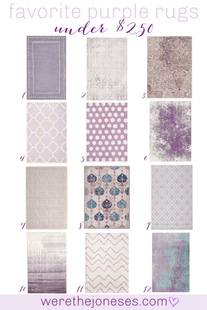 I've rounded up my favorite purple rugs under $250. Perfect for little girl nurseries, girl rooms and tween rooms, guest rooms and laundry rooms!
