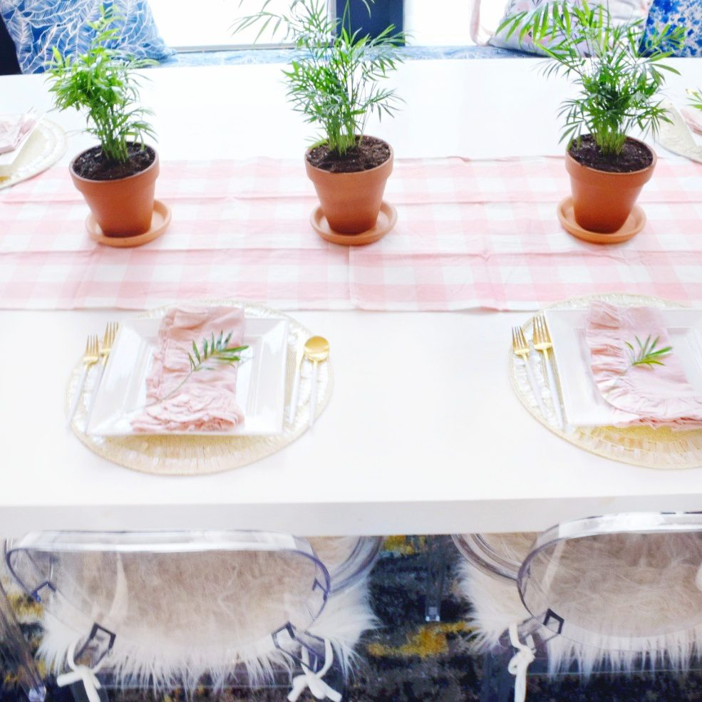 modern coastal spring decor ideas that are easy and simple using tropical neanthe bella palm plants and pink gingham table runner