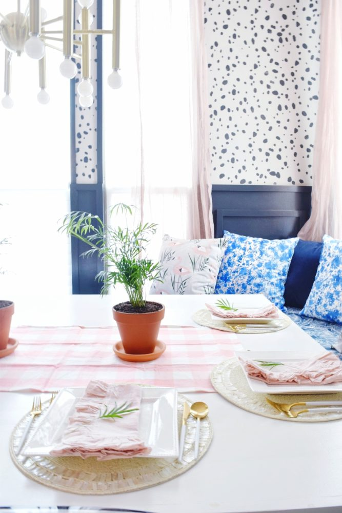 what is modern coastal design? here are my coastal kitchen decorating ideas for spring using tropical plants and blush pinks