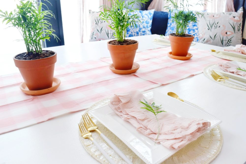 fresh spring decorating ideas for simple table setting ideas with modern coastal touches of tropical plants and blush pinks