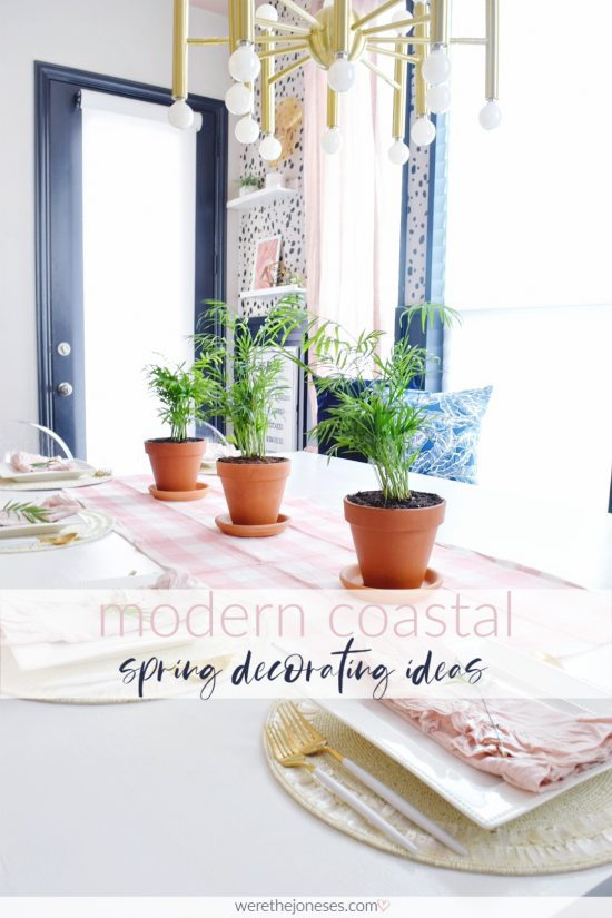 Modern Coastal Spring Decorating Ideas for Your Home With Touches of Tropical Greens and Soft Blush Pinks