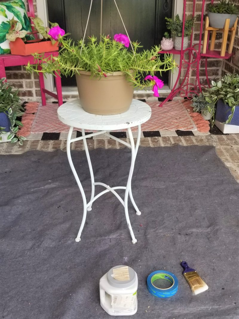 painting flower hanging basket for front porch
