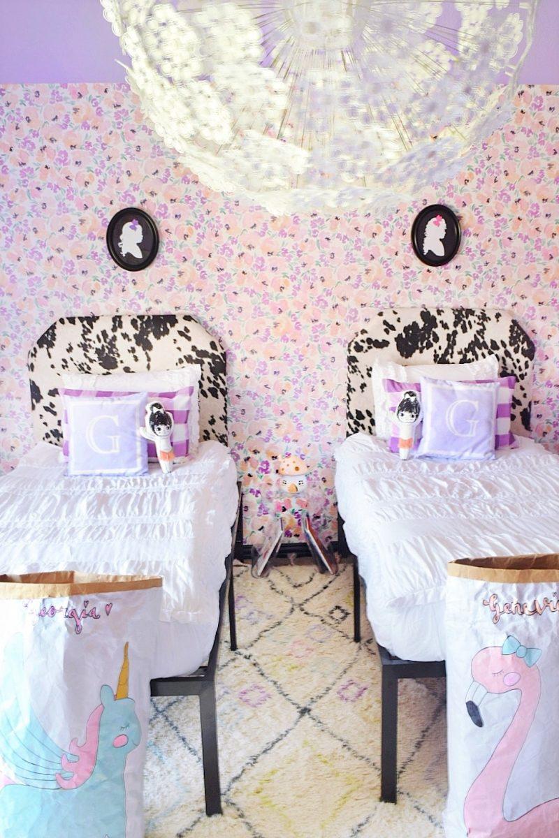 floral wallpaper ikea dandelion chandelier ikea dandelion pendant GRIMSÅS Pendant lamp and beddys bed in chic white for little girls room
