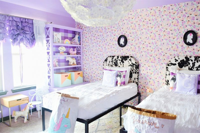 whimsical little girls room with floral wallpaper ikea dandelion chandelier ikea dandelion pendant GRIMSÅS Pendant lamp and lavender purple painted walls