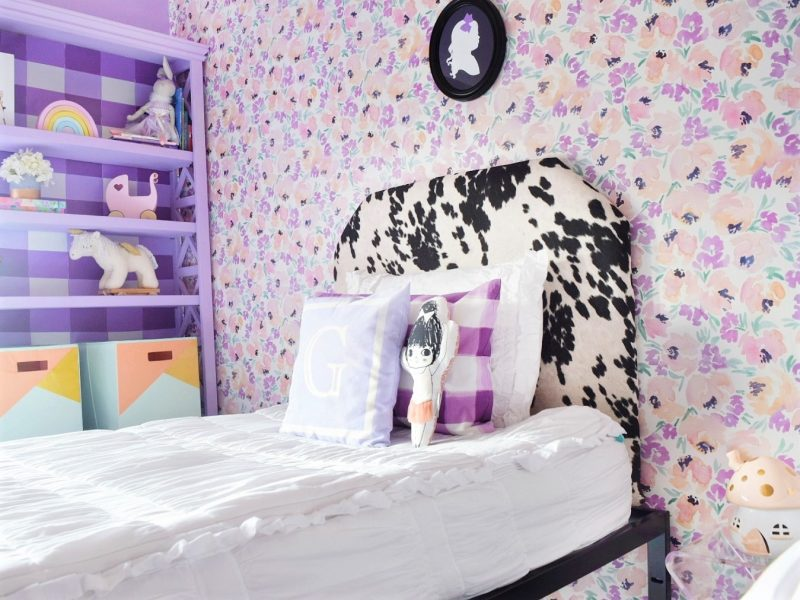 peony wallpaper cowhide headboard silouette portrait and beddys bed in little girls room