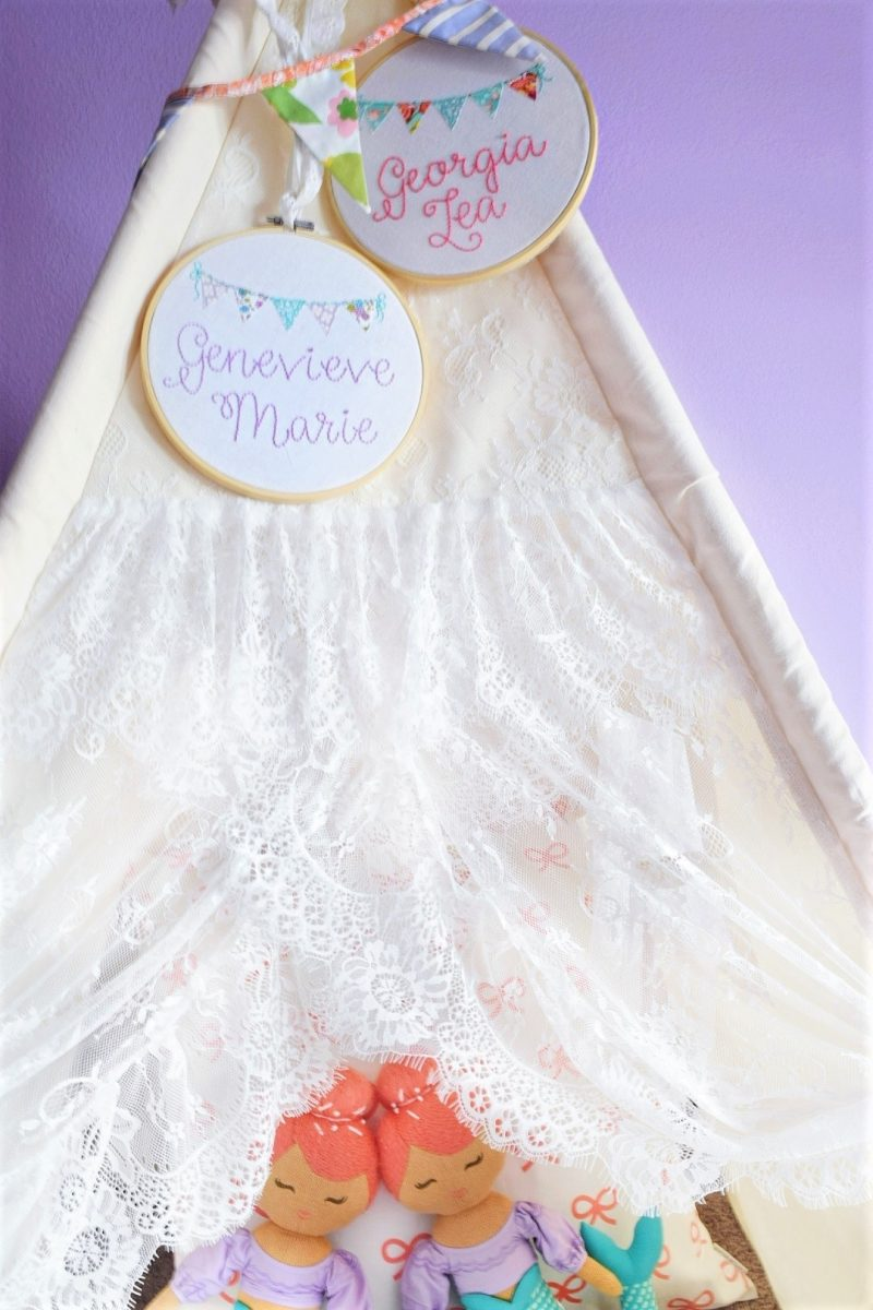 lace teepee tent in little girls room