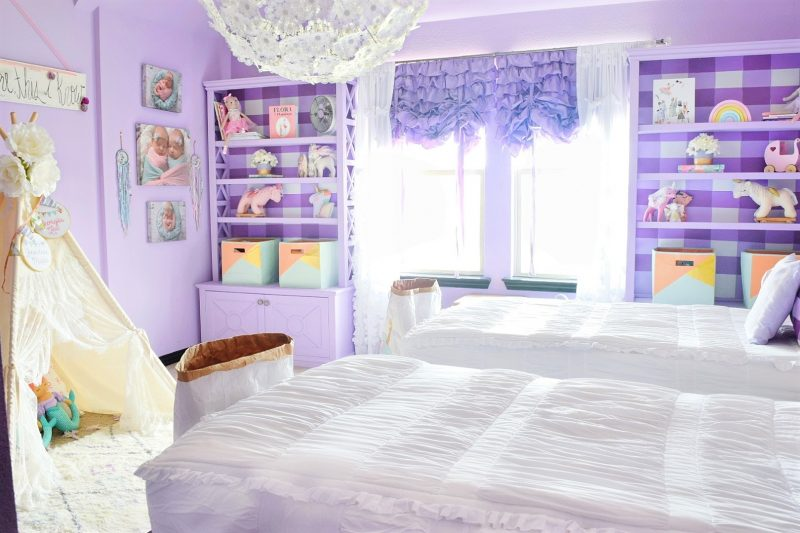 little girls room with purple walls and white beddys bed and ikea dandelion pendant GRIMSÅS Pendant lamp