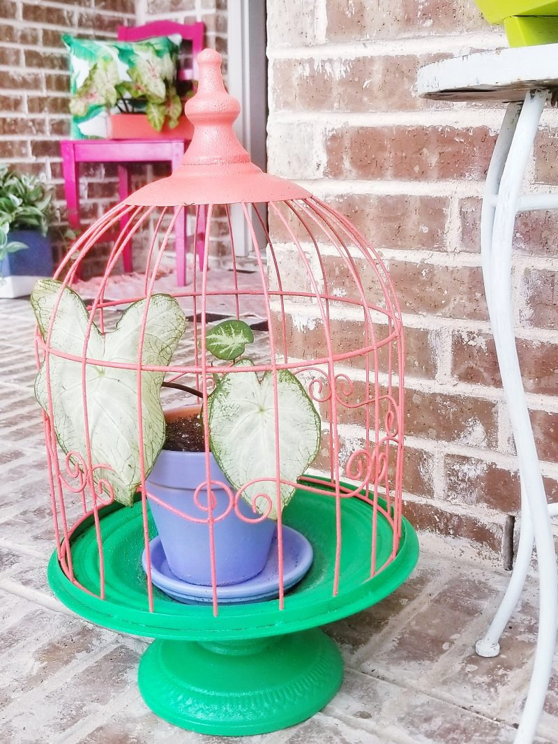 colorful and bright planter and front porch decor