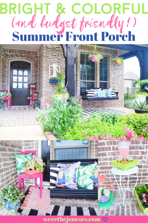 a bright and colorful summer front porch makeover with porch swing and hanging planters