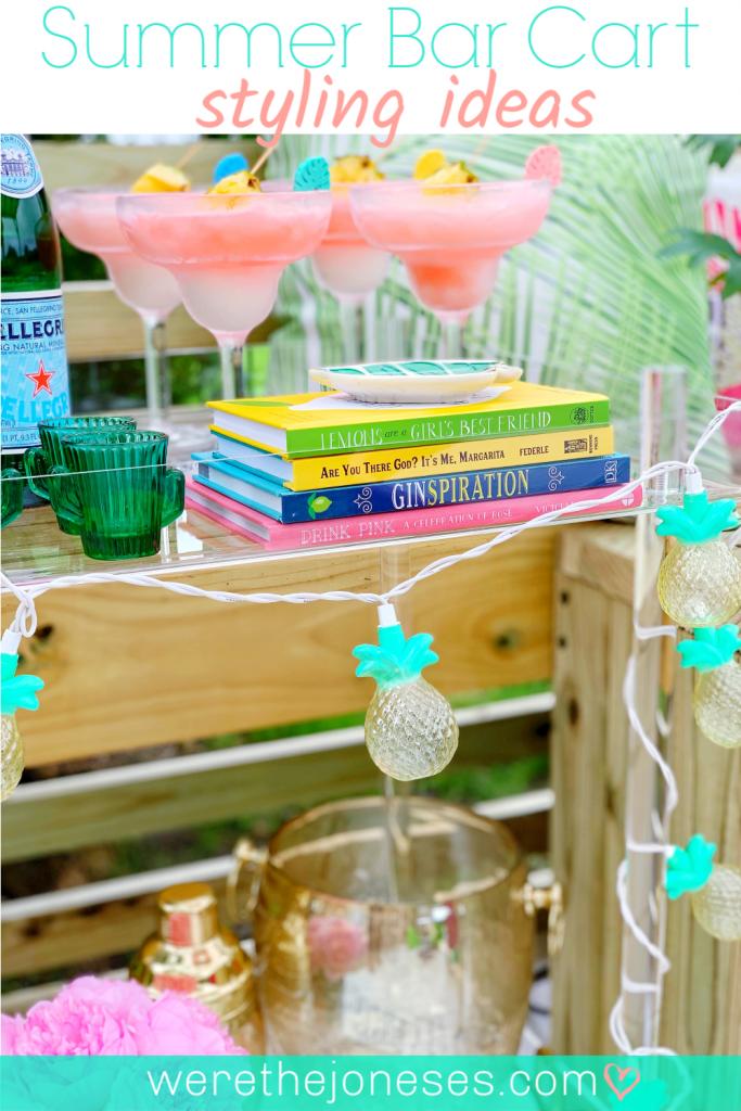 Outdoor Summer Decorating Ideas with a Summer Themed Bar Cart
