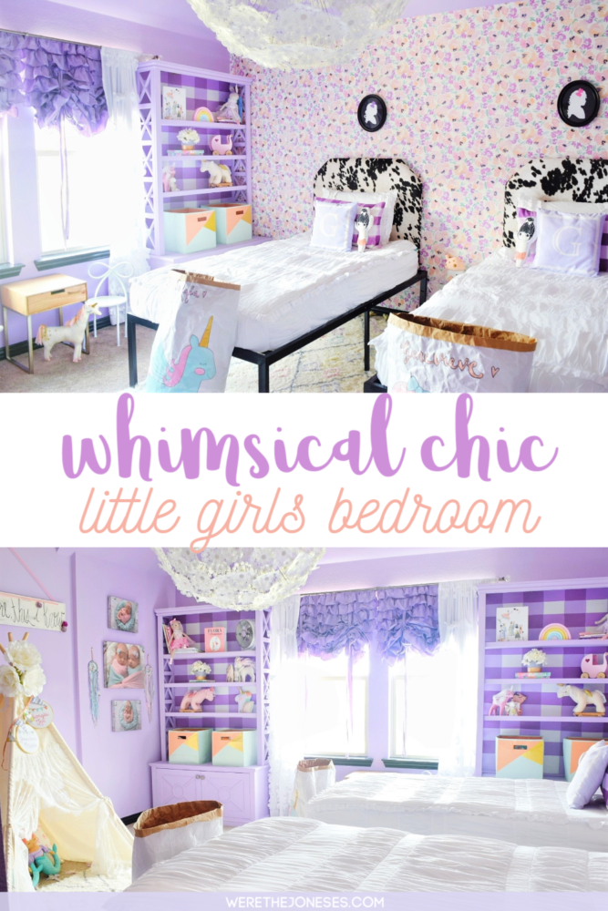 little girls room decor ideas with purple paint on walls and floral wallpaper by caitlin wilson