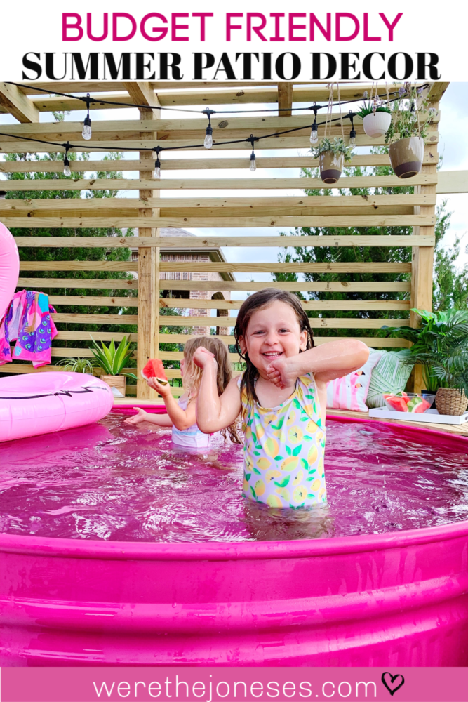 Budget Friendly Summer Patio Decor and Backyard Accessories For Our Pink Stock Tank Pool