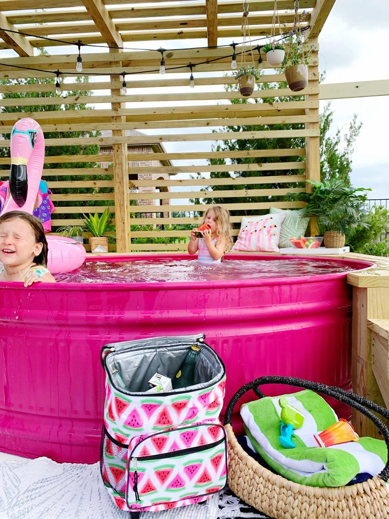 DIY Deck and Pink Stocktank Pool with our Favorite Summer Essentials