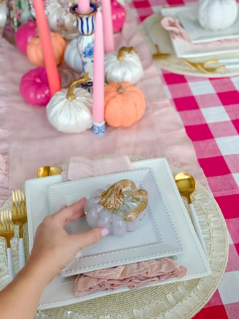 3 simple steps to decorate a tablescape setting a beautiful fall table with painted pumpkins and long centerpiece using taper candles
