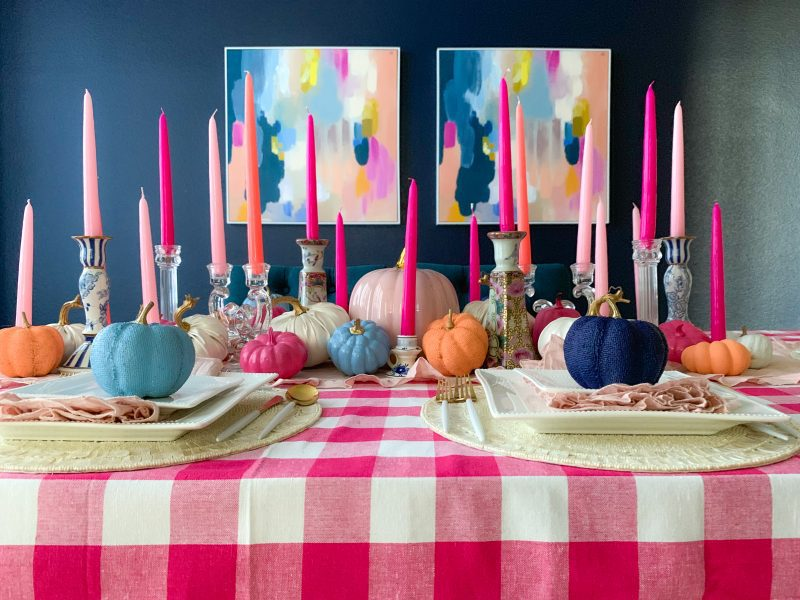 colorful fall tablescape fall decor ideas using pinks and blues chinoiserie candle holders and painted pumpkins