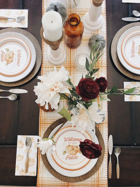 Cozy Fall Centerpiece Decor Ideas with warm colors of amber mustard and burgundy