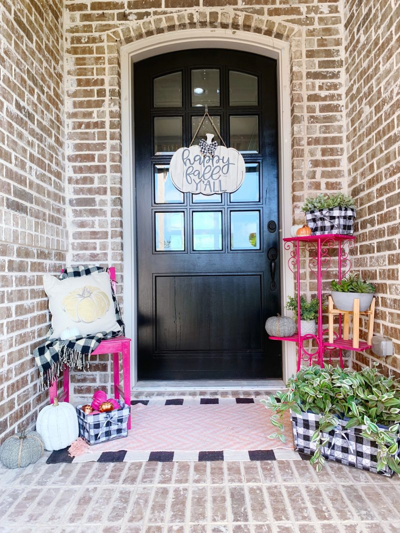 colorful fall front porch decor ideas with hot pinks orange green and black and white buffalo check