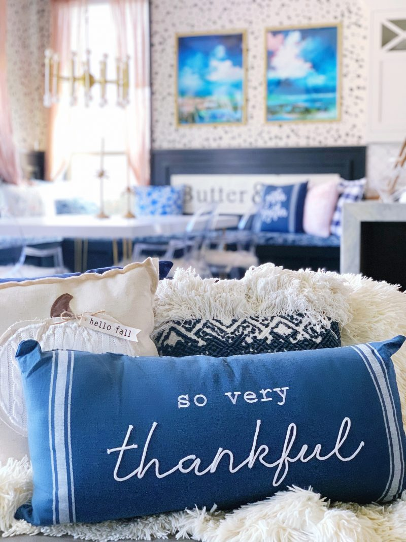 so very thankful pillow in living room with fall decor ides