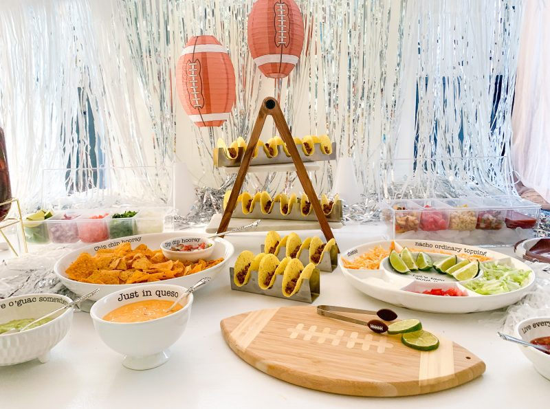 taco bar spread for homegating football party
