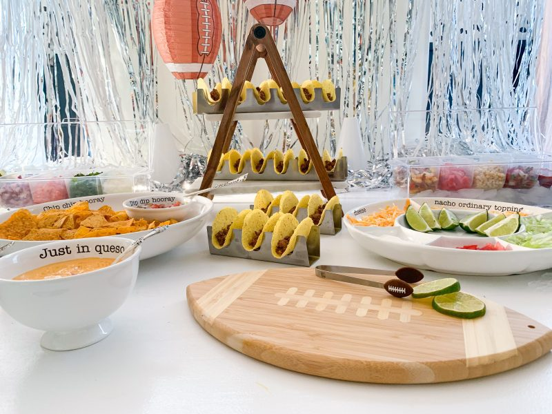 taco bar party decorations and food for taco bar homegate party