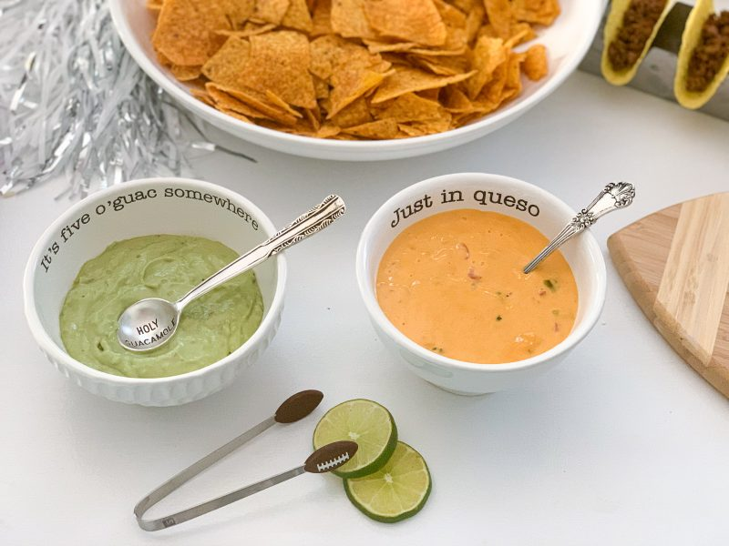 guacamole and queso bowl for taco bar homegating party
