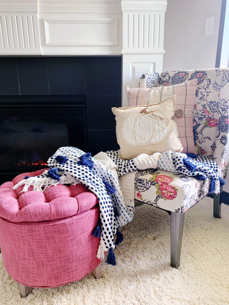 pink and blue modern fall decor
