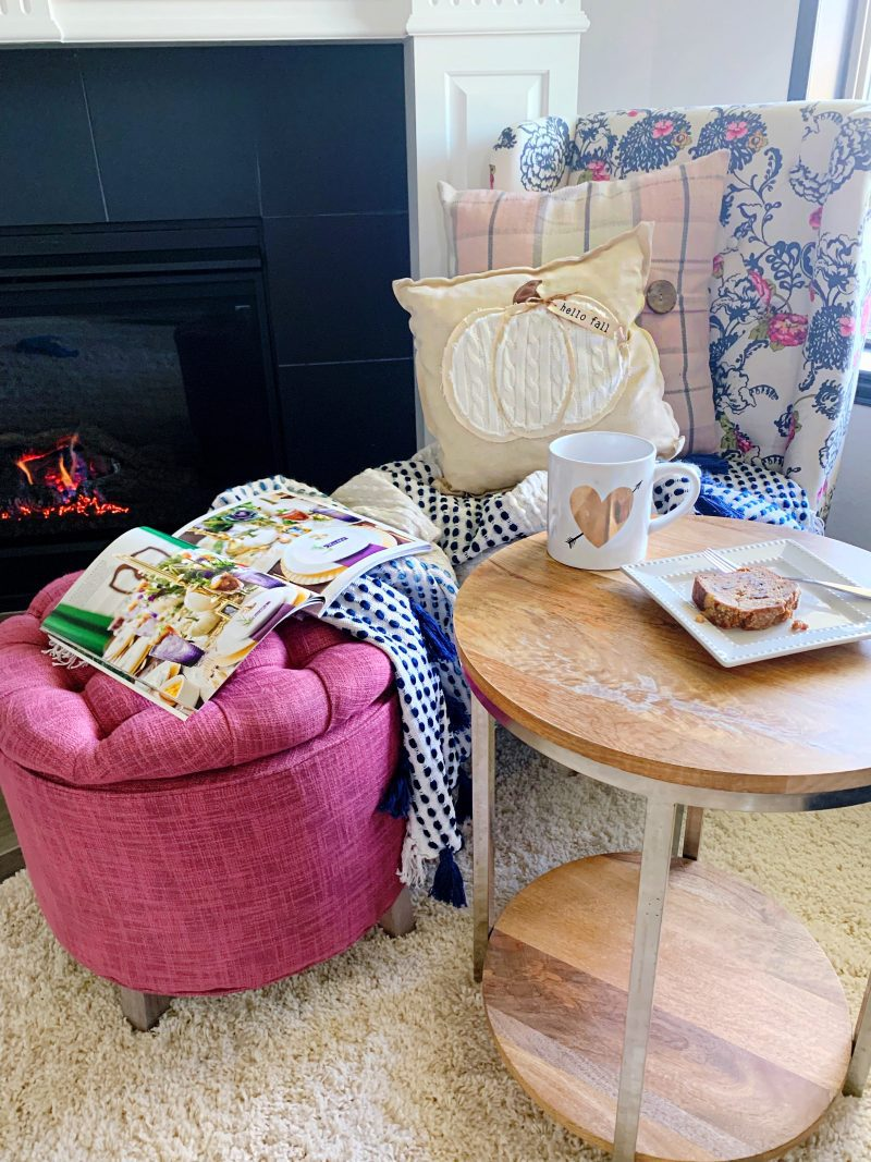 fireplace cozy reading nook with coffee and magazines