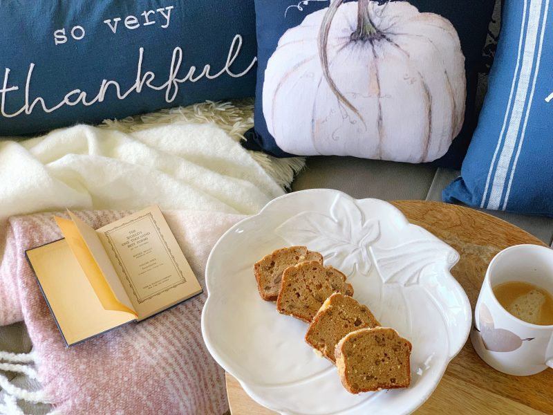 fall pillows and cozy reading nook