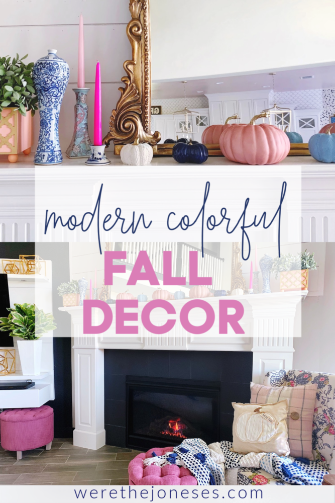 modern colorful fall decorating ideas using pink and blue | fall home tour
