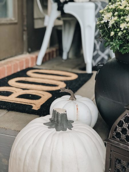 boo front door mat with white pumpkins