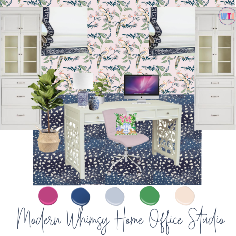 design inspiration board of home office for one room challenge