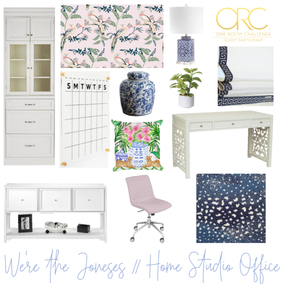 design inspiration board for one room challenge office makeover