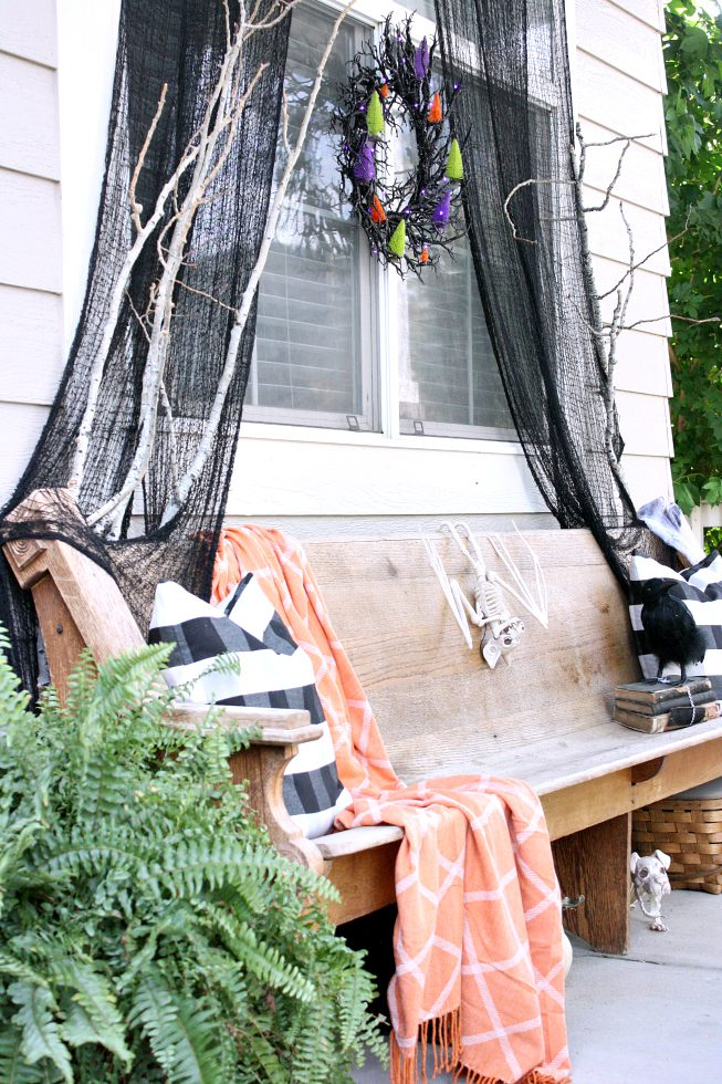 halloween bench on front porch