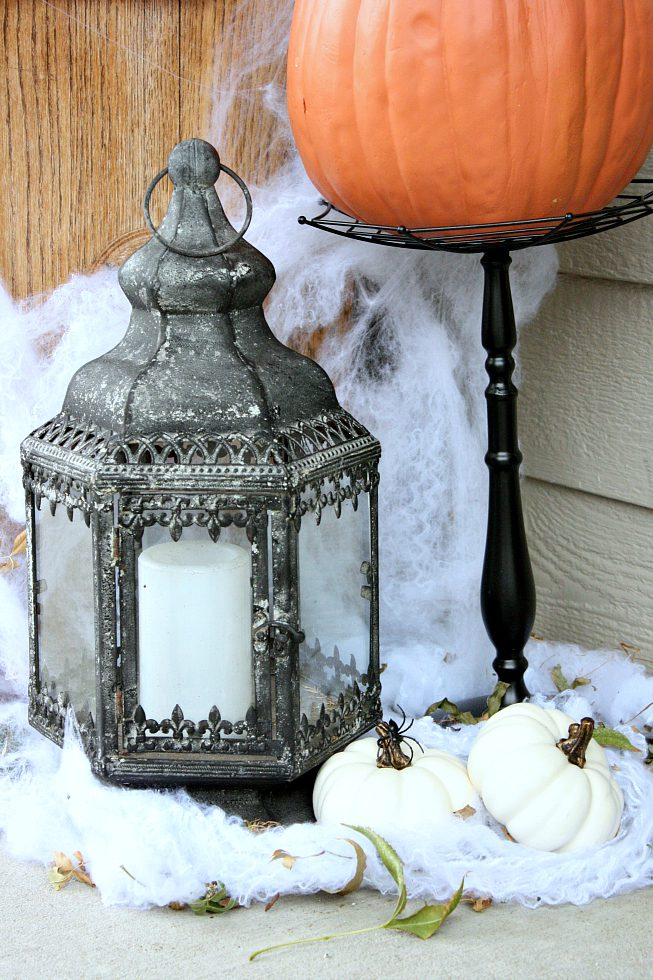 halloween lantern and pumpkins