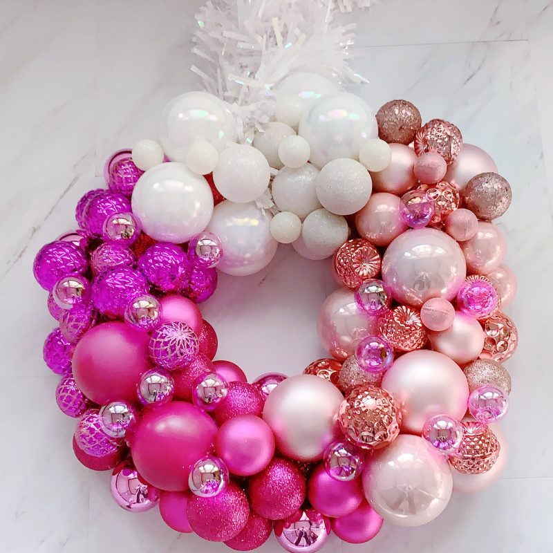 christmas wreath with pink ombre ornaments