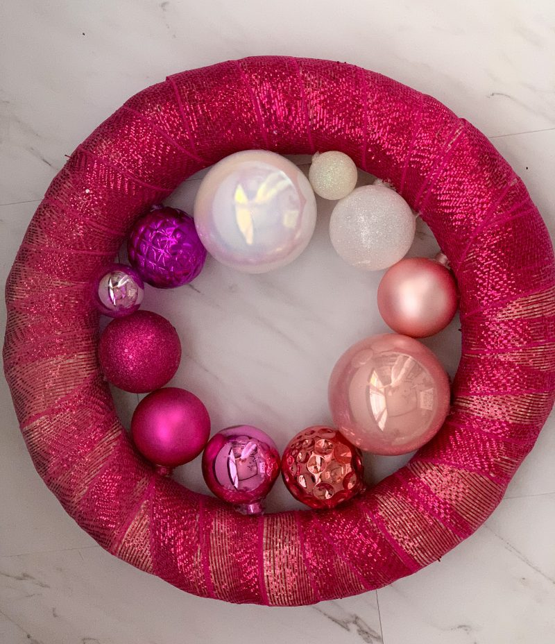 pink wreath with pink ornaments step by step tutorial