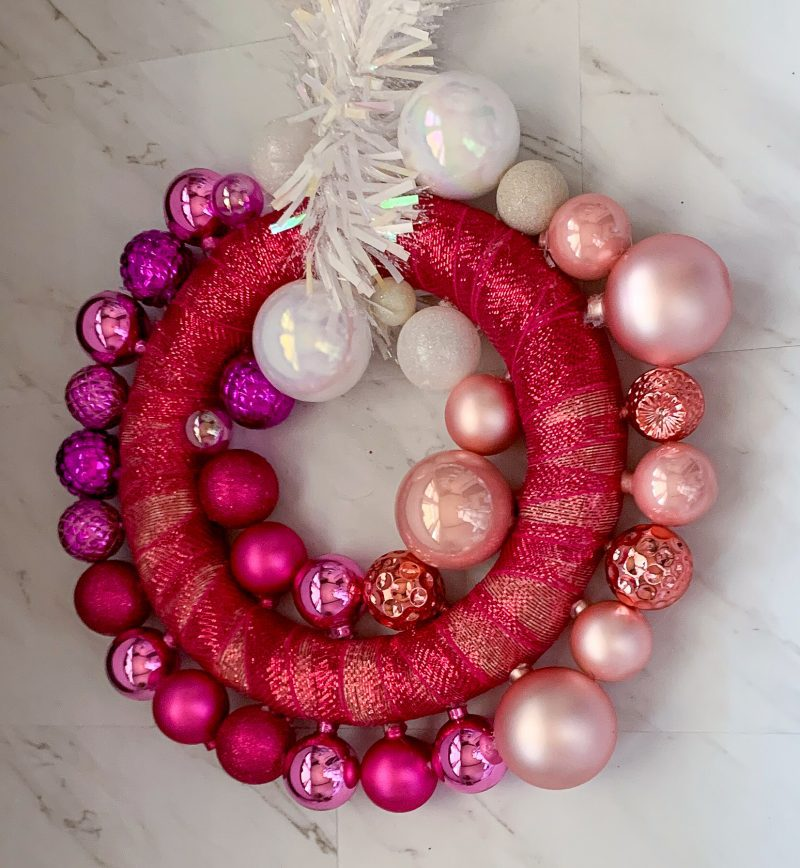 christmas wreath DIY with pink ornaments