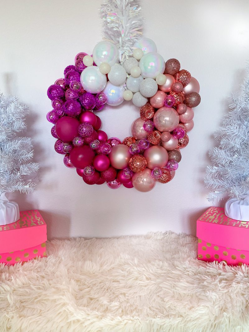 pink ombre ornament wreath with white christmas trees