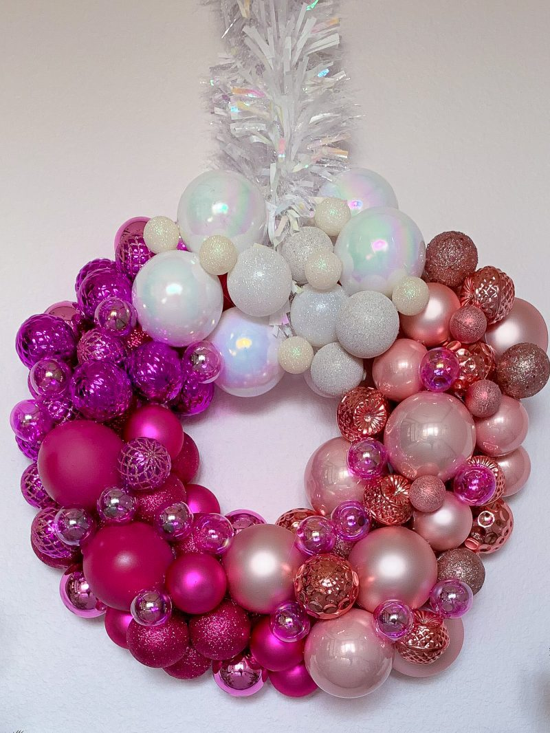pink ombre christmas wreath using ornament balls and baubles