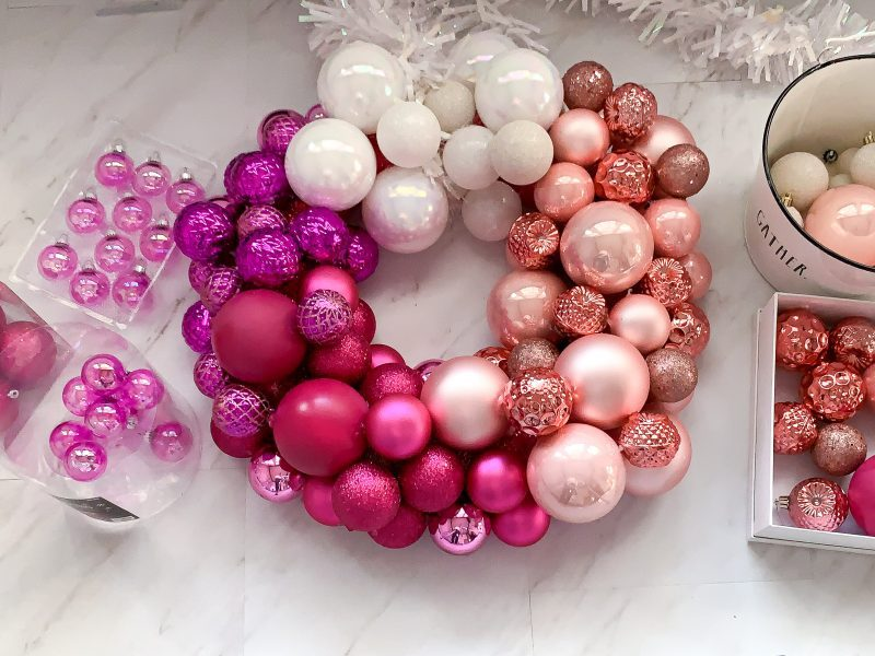 pink ombre christmas wreath