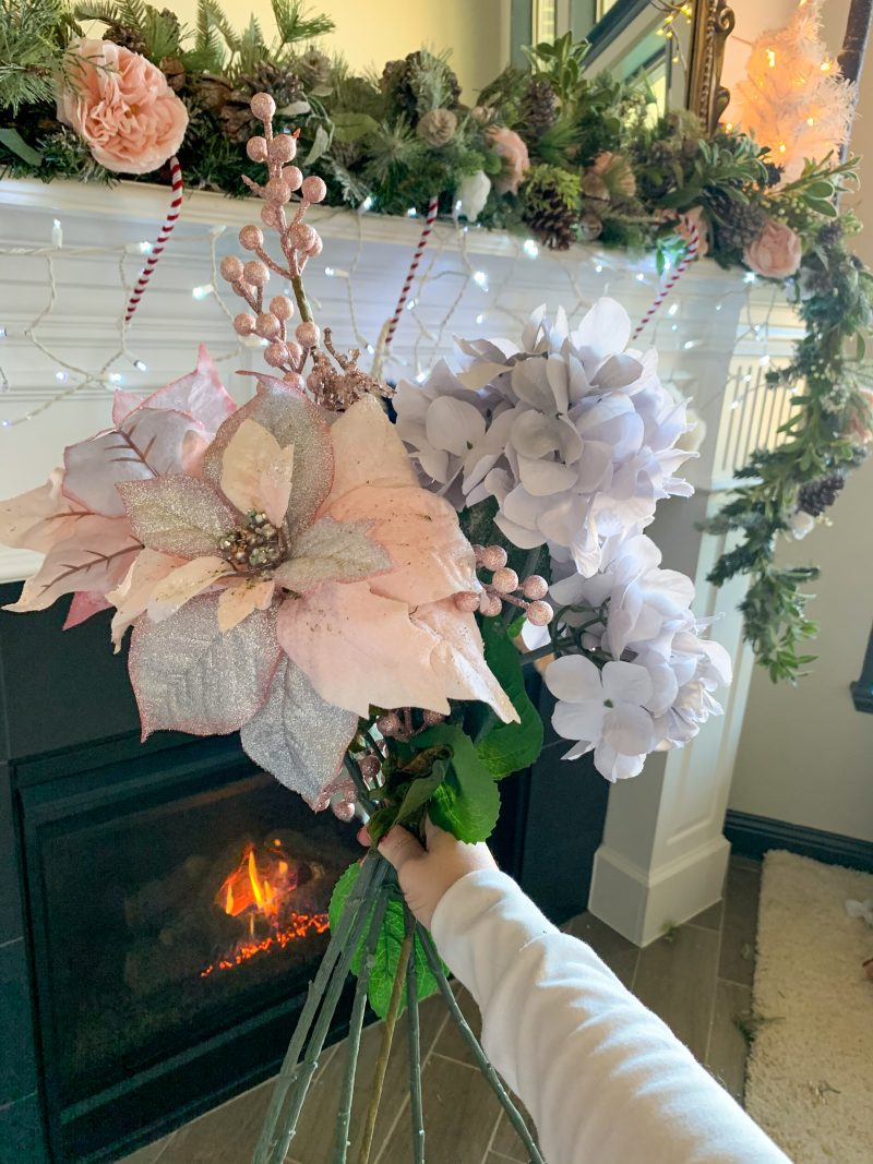 christmas floral stems pink poinsettia blue hydrangea