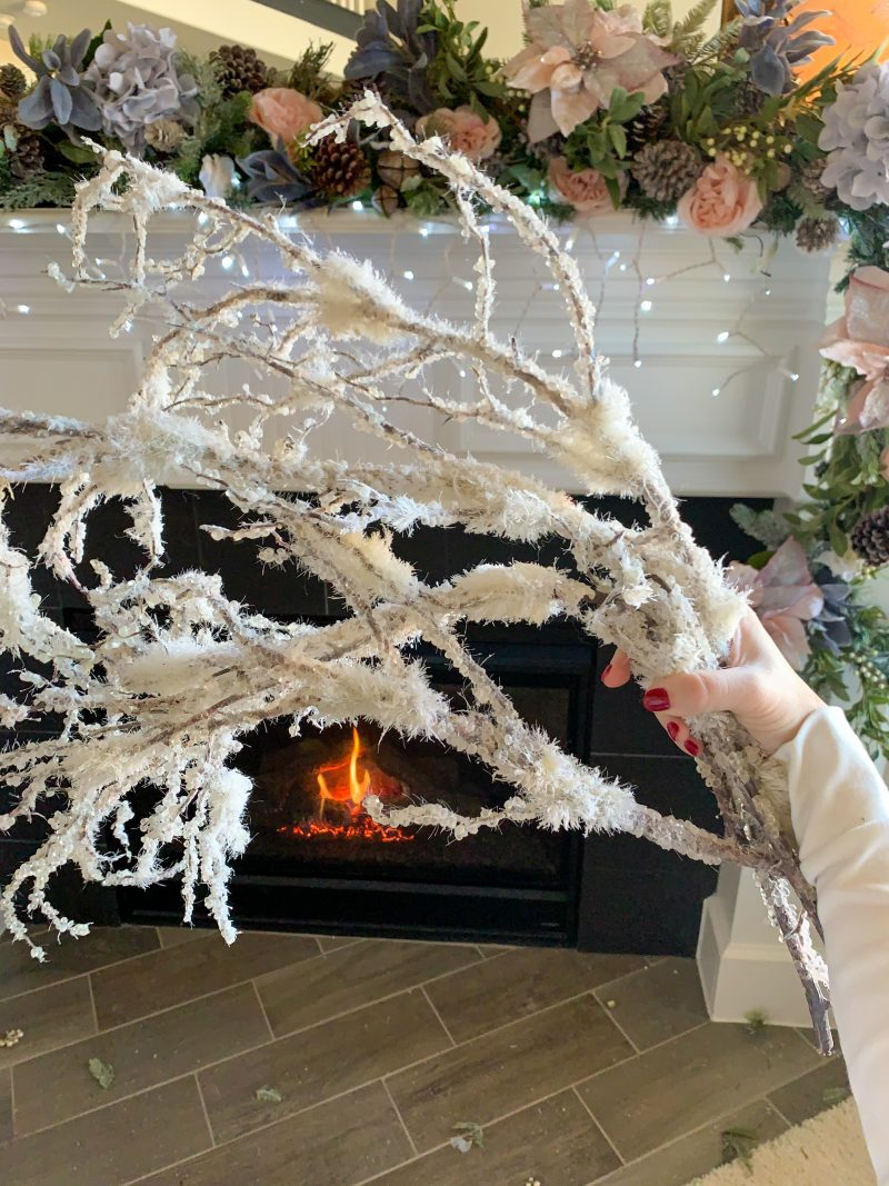 white snow christmas branches for holiday mantel