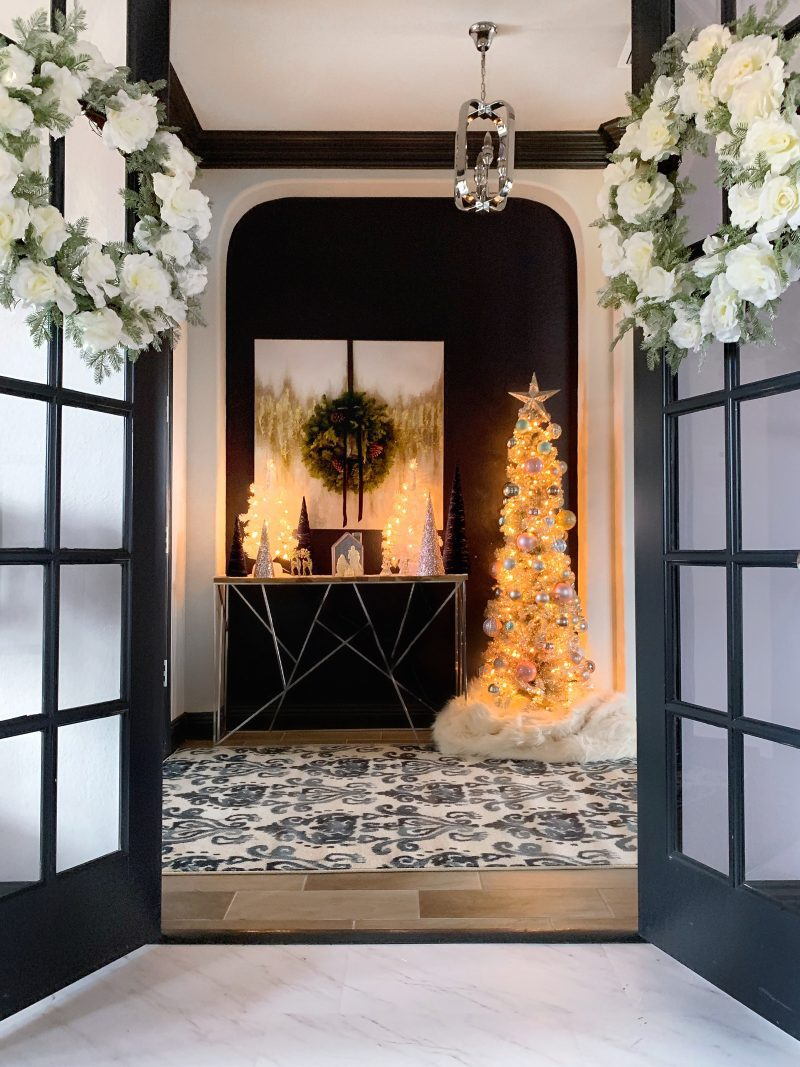 entryway table Christmas decor with rose gold Christmas tree
