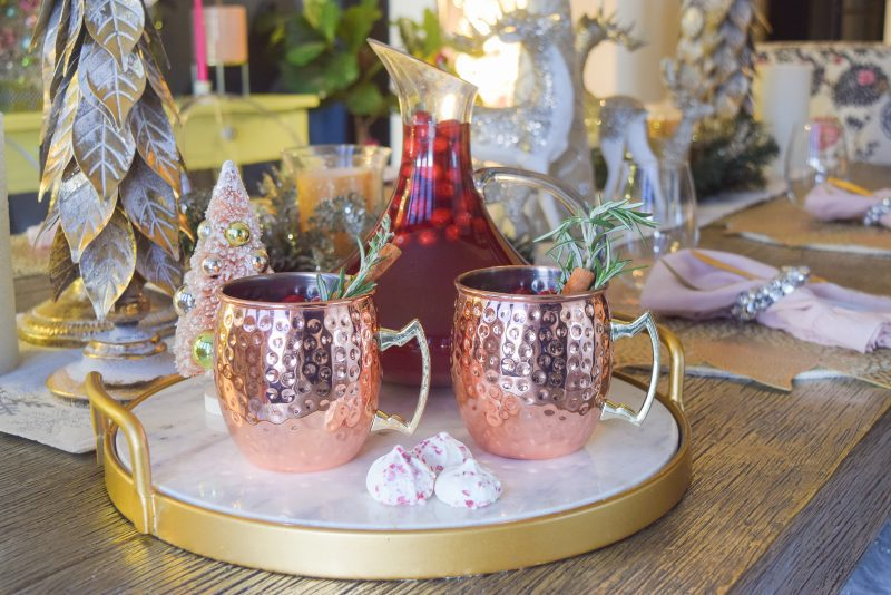 winter wassail christmas drink in holiday dining room table decor
